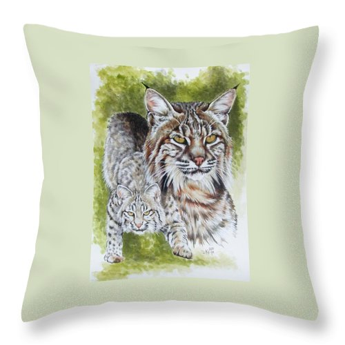 Small Cat Throw Pillow featuring the mixed media Brassy by Barbara Keith
