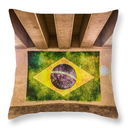 Blue Throw Pillow featuring the photograph Brazilian Flag by Semmick Photo