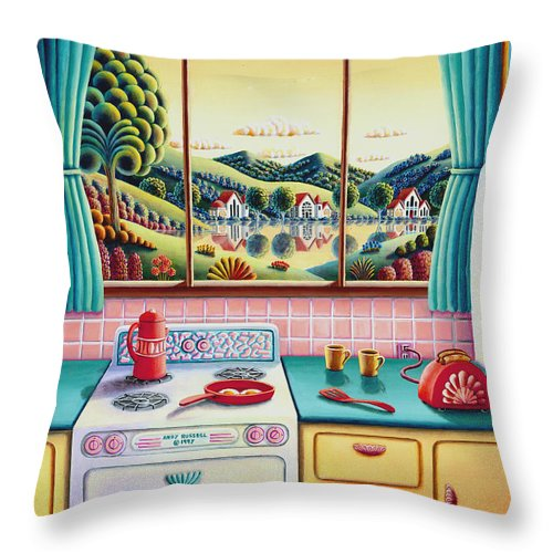 Painting Throw Pillow featuring the painting Breakfast Of Champions by MGL Meiklejohn Graphics Licensing