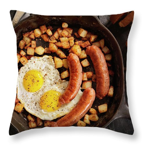 Breakfast Throw Pillow featuring the photograph Breakfast With Sunny Side Up Eggs And by Lauripatterson