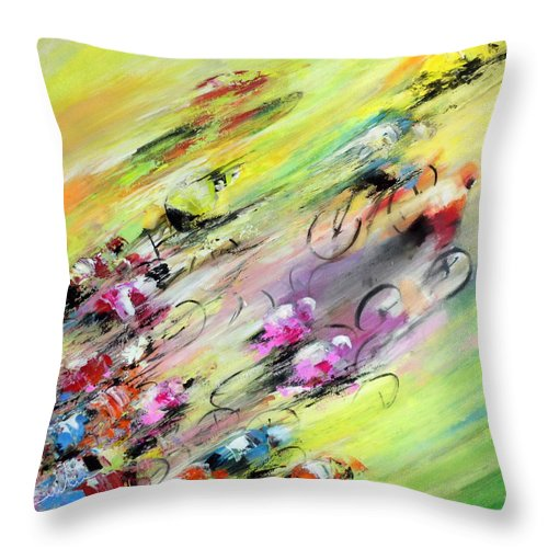 Sports Throw Pillow featuring the painting Breaking Away by Miki De Goodaboom