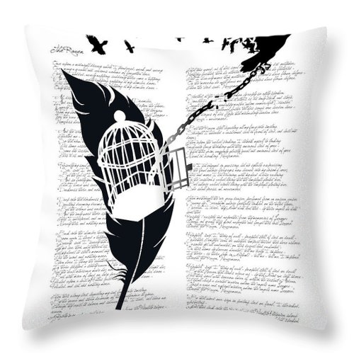 Crow Throw Pillow featuring the digital art Breaking Free by Sassan Filsoof