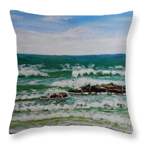 Pamela-meredith Throw Pillow featuring the painting Breaking Waves by Pamela Meredith
