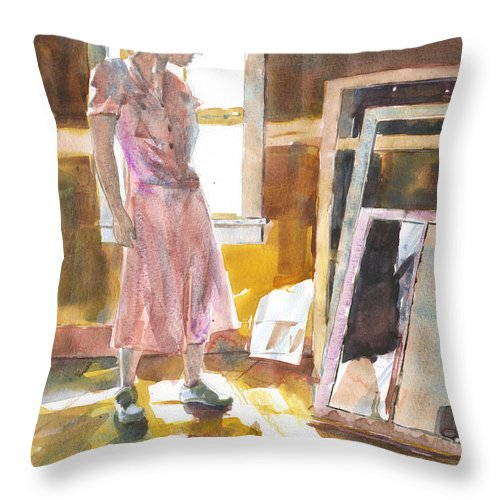 Sun Through Window Throw Pillow featuring the painting Breakthrough by Jeff Mathison