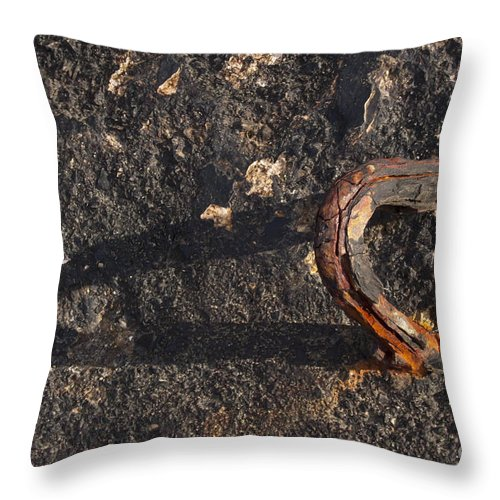 Breakwater Throw Pillow featuring the photograph Breakwater At Crete Harbor  #7102 by J L Woody Wooden