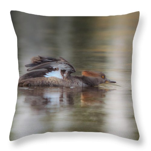 Duck Throw Pillow featuring the photograph Breastroke by Susan Capuano