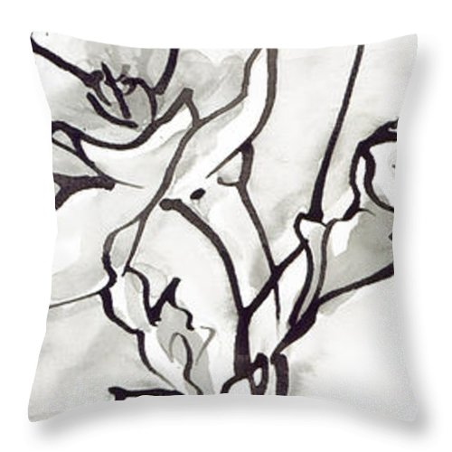 Ink Throw Pillow featuring the painting Breathe by Holly Carton