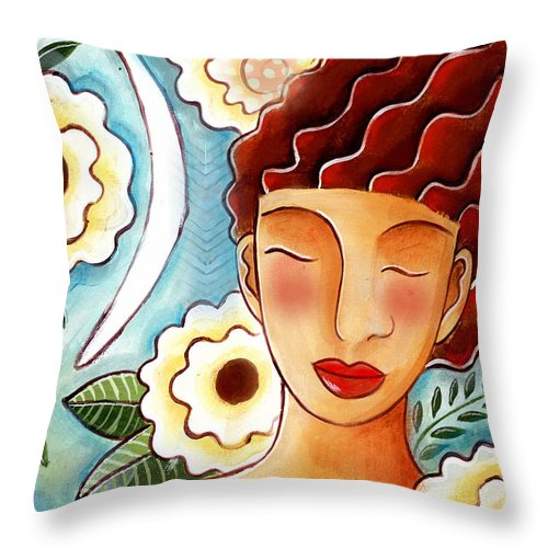 Figurative Throw Pillow featuring the mixed media Breathing in the Moment by Elaine Jackson
