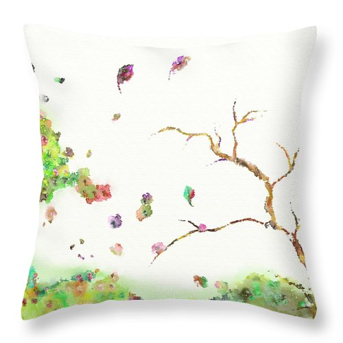 Flower Throw Pillow featuring the painting Breezy Canopy by Len YewHeng