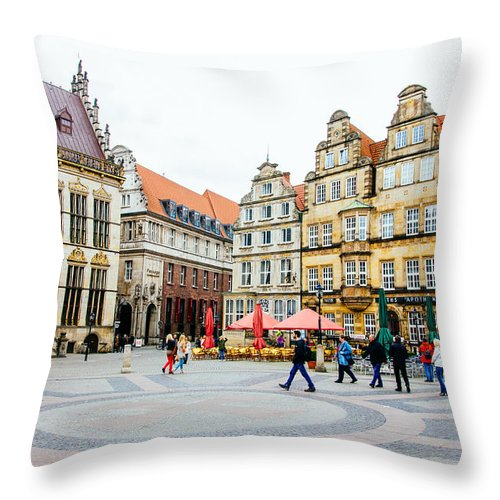 Germany Throw Pillow featuring the photograph Bremen Main Square by Pati Photography