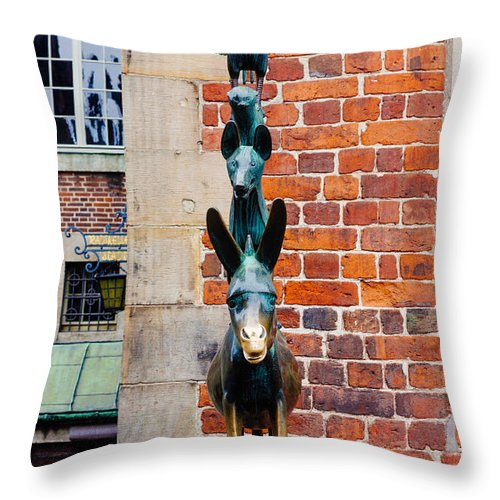 Bremen Throw Pillow featuring the photograph Bremen Musicians Statue by Pati Photography