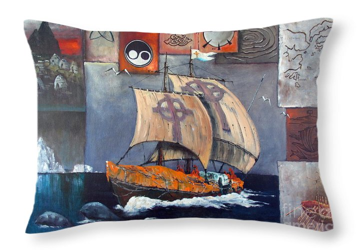 Val Throw Pillow featuring the painting Brendan Voyage by Val Byrne