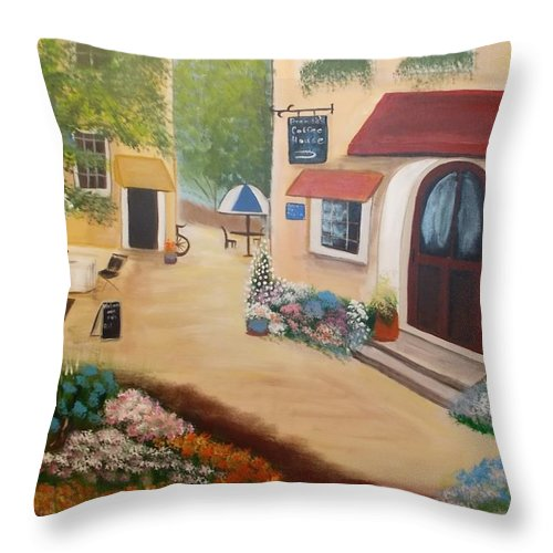 Brenda's Town Throw Pillow featuring the painting Brenda's Town by Cheryl Bowen-Hance