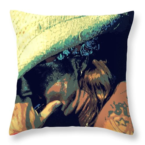 American Musician Throw Pillow featuring the photograph Bret Michaels With Harmonica by Michelle Frizzell-Thompson