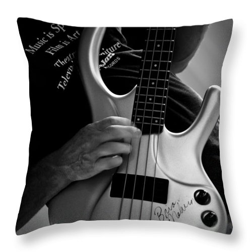 Electric Throw Pillow featuring the photograph Brian Melvin Autographed Guitar by Roger Bailey