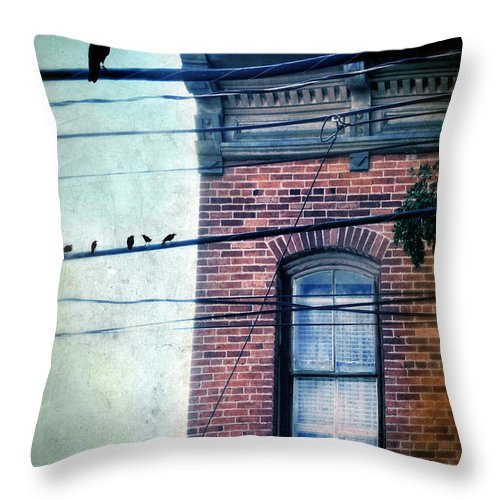 House Throw Pillow featuring the photograph Brick Building Birds On Wires by Jill Battaglia
