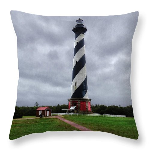 Light Throw Pillow featuring the photograph Brick Pathway To The Lighthouse by Dawn Gari