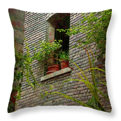 Window Throw Pillow featuring the painting Brick With Greenery by RC DeWinter