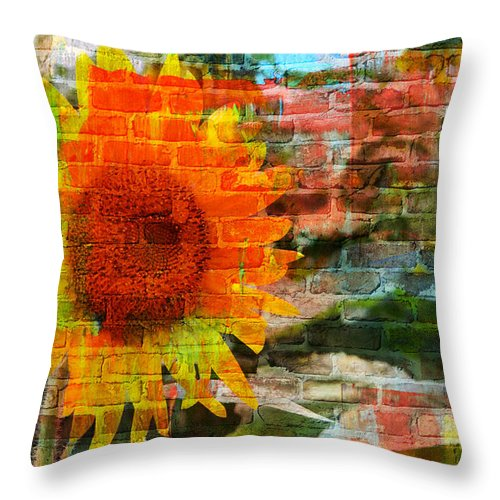 Sunflowers Throw Pillow featuring the photograph Bricks And Sunflowers by Alice Gipson