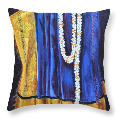 Bridal Throw Pillow featuring the painting Bridal Wear by Usha Shantharam