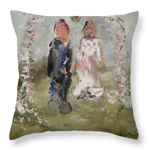 The Wedding Day- Impression Throw Pillow featuring the painting Bride And Groom by Edward Wolverton