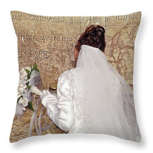 Bride Throw Pillow featuring the digital art Bride At The Wall by Constance Woods