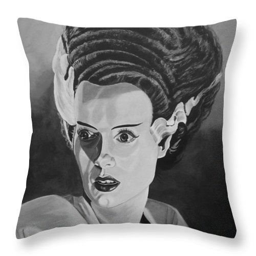 Bride Of Frankenstein Throw Pillow featuring the painting Bride Of Frankenstein by Robert Steen
