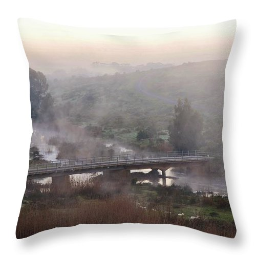 Landscape; Morning; Fog; Farm Land; Trees; Swartland; South Africa; Sky; Light; Background; Decorative; Mountains; Blue; Dawn; Bridge; Rural; Throw Pillow featuring the photograph Bridge At Dawn by Werner Lehmann