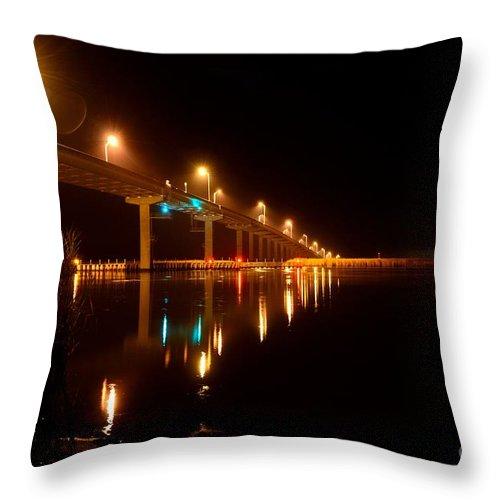 Apalachicola_river_bridge[2] Throw Pillow featuring the photograph Bridge At Night by Mark Stratton