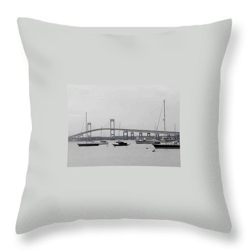 Black And White Throw Pillow featuring the photograph Bridge In Newport by Catherine Ratliff