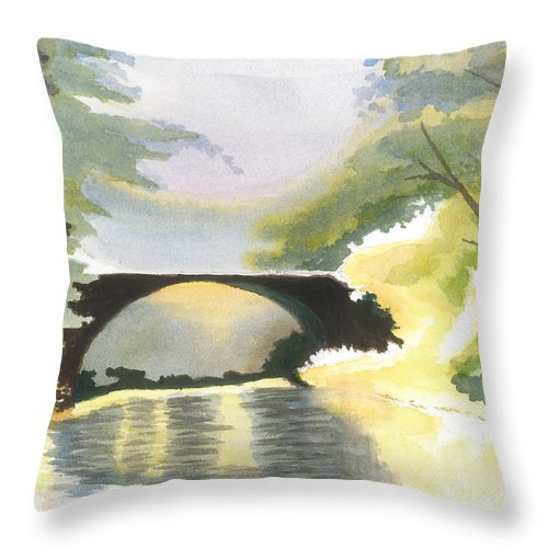 Bridge Throw Pillow featuring the painting Bridge In Shadows by David Bartsch