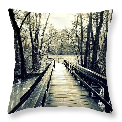 Bridge Throw Pillow featuring the photograph Bridge In The Wood by Valentino Visentini