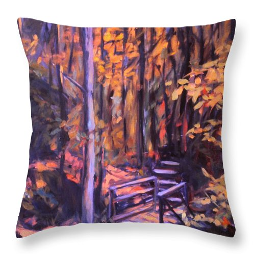 Woods Throw Pillow featuring the painting Bridge In Woods Near Pandapas by Kendall Kessler