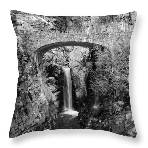 Bridge Throw Pillow featuring the photograph Bridge Over Falls by Breanna Calkins