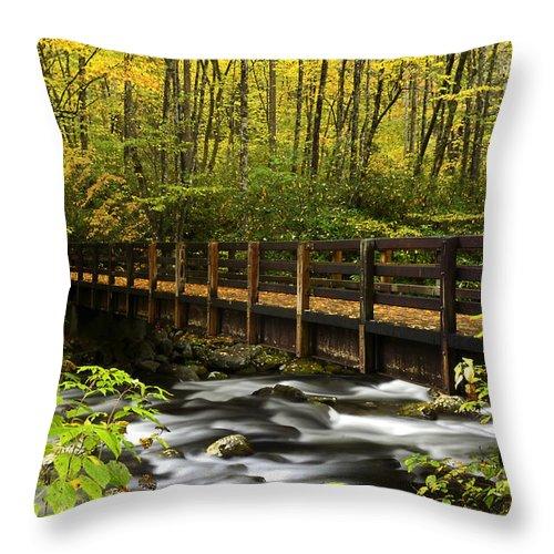 Bridge Throw Pillow featuring the photograph Bridge Over Oconaluftee by Eric Albright