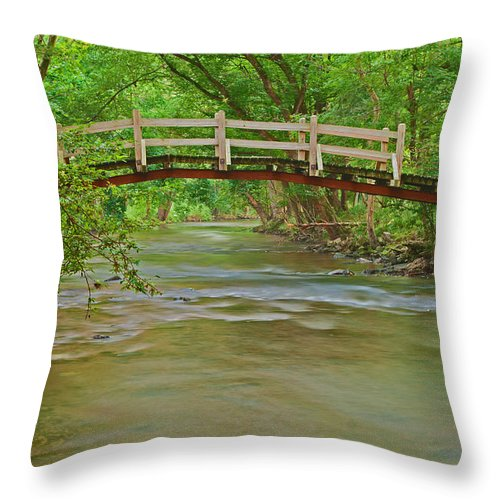 Creek Throw Pillow featuring the photograph Bridge Over Valley Creek by Michael Porchik