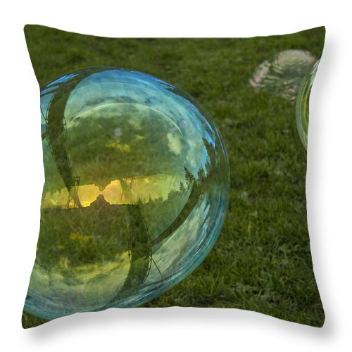 Bubbles Throw Pillow featuring the photograph Bridge Reflections In The Bubbles by Jean Noren