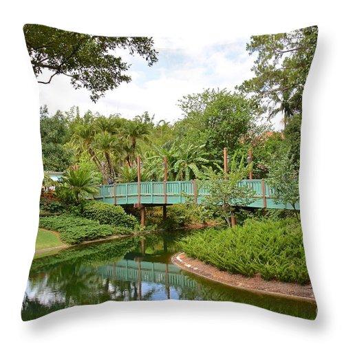 Disney Throw Pillow featuring the photograph Bridge To Adventure by Carol Bradley
