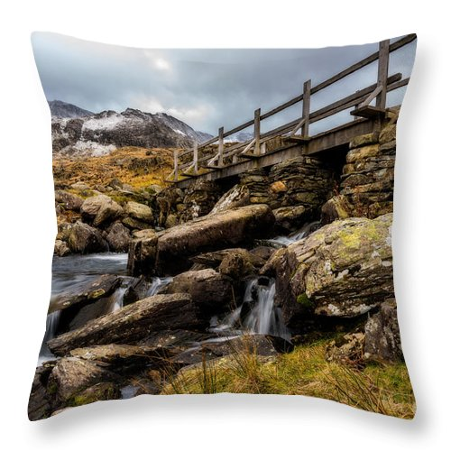 Waterfall Throw Pillow featuring the photograph Bridge To Idwal by Adrian Evans