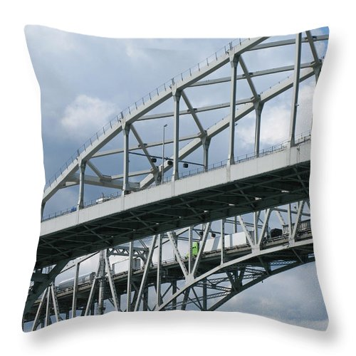 Ann Horn Throw Pillow featuring the photograph Bridge Traffic by Ann Horn