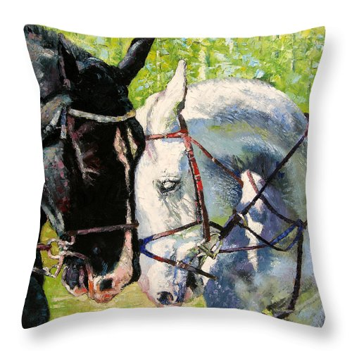 Horses Throw Pillow featuring the painting Bridled Love by John Lautermilch