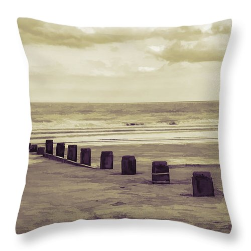 Sea Throw Pillow featuring the photograph Bridlington Beach by Nick Field