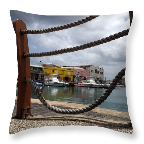 Pier Throw Pillow featuring the photograph Brigdetown by Jorge Erick Ramos