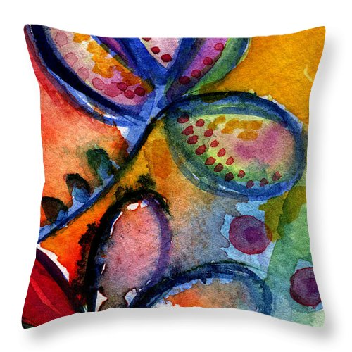 Abstract Throw Pillow featuring the painting Bright Abstract Flowers by Linda Woods