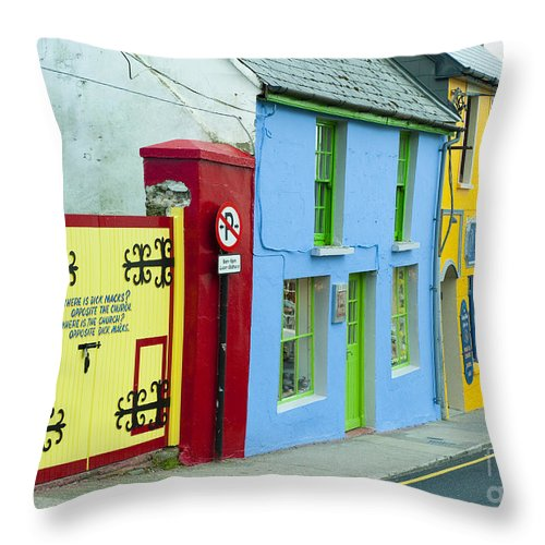 County Kerry Throw Pillow featuring the photograph Bright Buildings In Ireland by John Shaw