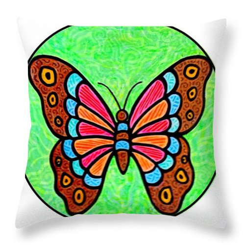 Butterfly Throw Pillow featuring the painting Bright Butterfly by Jim Harris