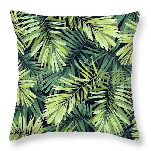 Tropical Rainforest Throw Pillow featuring the digital art Bright Green Background With Tropical by Msmoloko