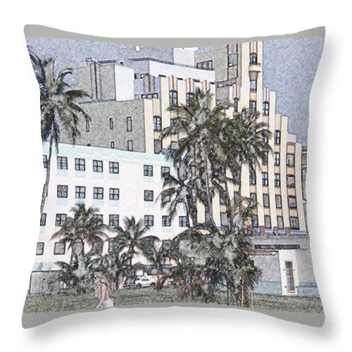 Art Deco Throw Pillow featuring the photograph Bright Light Miami Beach by Tom Wurl
