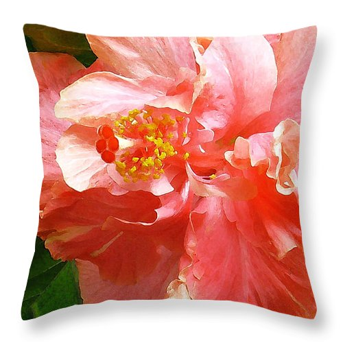 Hibiscus Throw Pillow featuring the digital art Bright Pink Hibiscus by James Temple