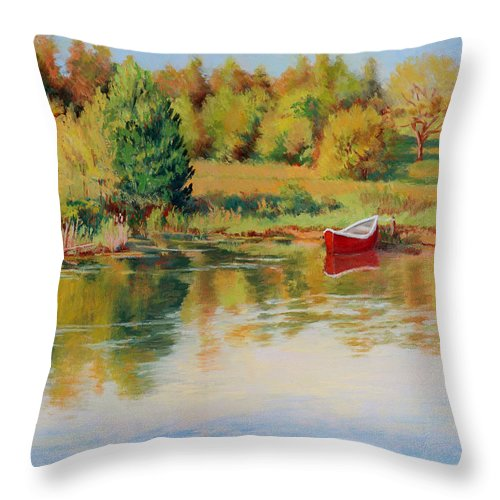 Landscape Throw Pillow featuring the painting Bright Spring Afternoon by Keith Burgess